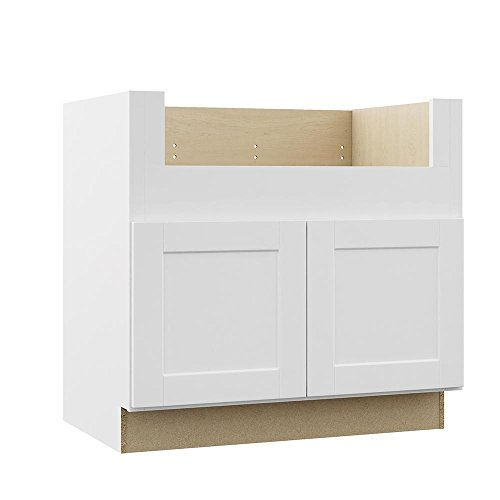 Hampton Bay KSBD36-SSW Shaker Farmhouse Apron-Front Sink Base Kitchen Cabinet - Satin White ()