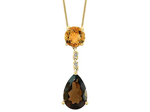 LALI Classics 14k Yellow Gold Pear Shape Smoky Quartz and Round Citrine Pendant Necklace