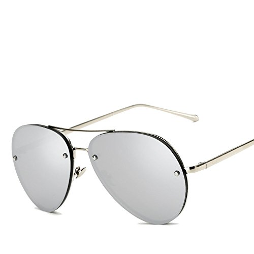 Freckles Mark Oversize Gold Metal Mirror Clear Vintage Aviator Sunglasses 62mm (Silver Mirror, - Mirrored Oversized Sunglasses Aviator