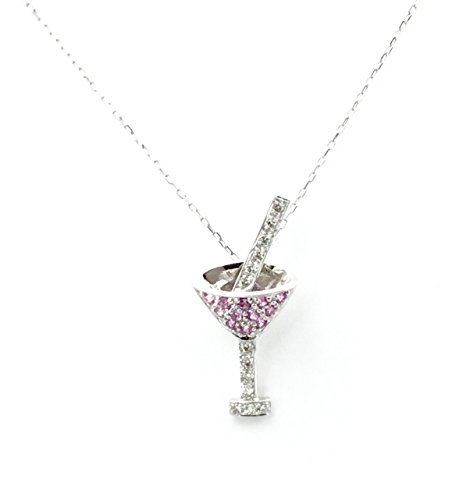 .47 Carat T.W. Diamond and Pink Amethyst Martini Glass Pendant on a White Gold Chain