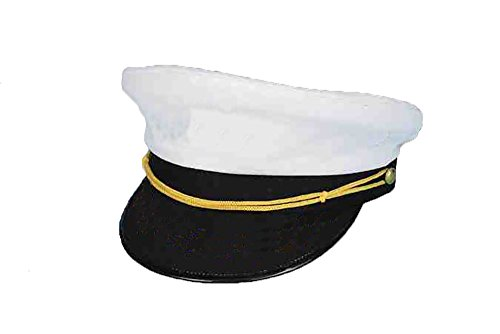 Forum Novelties Yacht Captain Hat Sea Skipper White Sailor Cap Unisex Costume Accessory (Standard Trim) (Hat Captain Sea Adult)