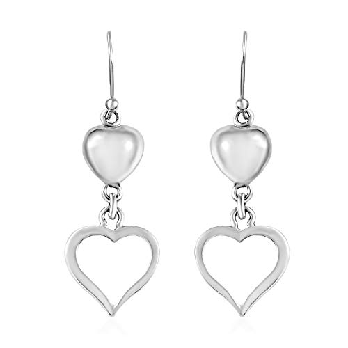 - 925 Sterling Silver Dangling Dangle Drop Love Heart Valentines Earrings Gift Jewelry for Women