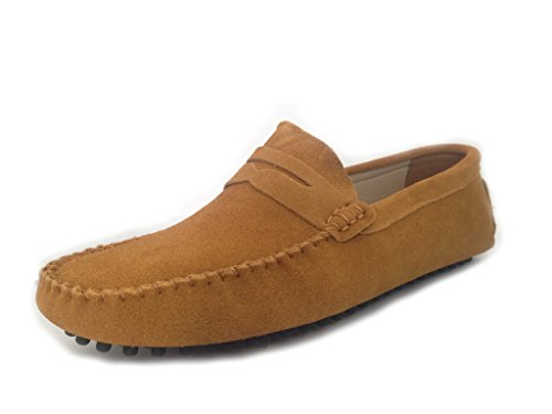 SUNROLAN Driving Penny Men's Brown Slip On Leather Suede Shoes 2019 2 Dress Shoes Light Loafers Moccasin rrH0gTz