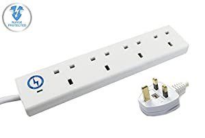 wickes master 4 way extension lead surge protector w. Black Bedroom Furniture Sets. Home Design Ideas