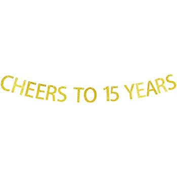 Amazon.com: Cheers To 15 Years Gold Glitter Garland Banner ...