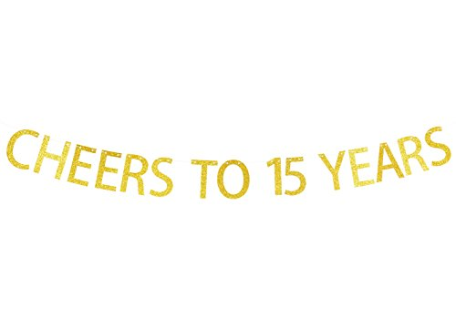 Cheers To 15 Years Gold Glitter Garland Banner- Happy 15th Birthday Anniversary Party Supplies, Ideas and Decorations