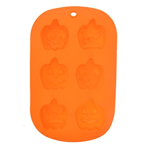 LUOEM Unique 6-Holes Halloween Pumpkin Shaped Soft Silicone DIY Cupcake Chocolate Jelly Baking Mold Mould Ice Cube Tray (Orange)]()