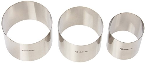 Cuisinox RNG-75 Pastry Rings/Food Stackers, 70/90/100mm Diameter by 75mm Height, Stainless Steel, Set of 3 by Cuisinox