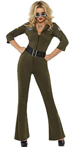 Ladies 1980s Sexy Top Gun Army Aviator Military Jumpsuit Fancy Dress Costume Outfit (UK 8-10) -