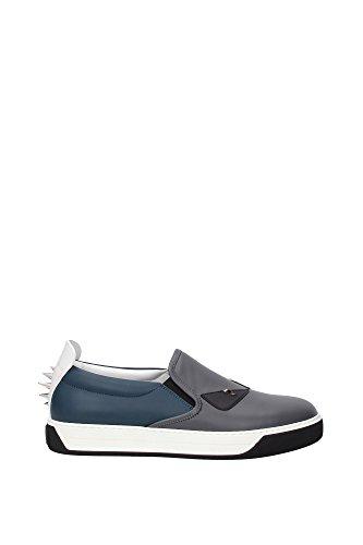 Pantoffeln Fendi Herren Leder Grau, Blau, Weiß und Schwarz 7E0942TTYF07LH Grau 41EU