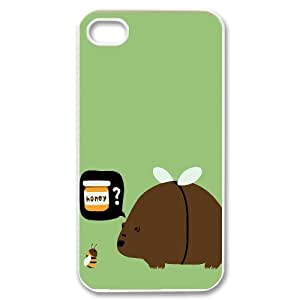 Nuktoe Cute Bear Honey Bee IPhone 4/4s Case For Teen Girls Protective, Cute Iphone 4s Case [White]