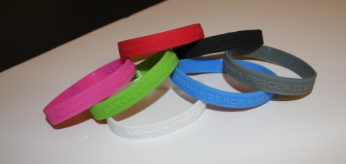 1 ''Green'' Silicon Wristband ''earth+peace=love'' for kids, teens, unisex by tifepiphany (Image #2)