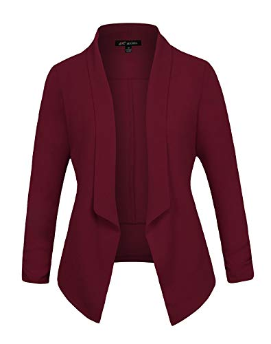 (Michel Women's 3/4 Sleeve Blazer Casual Open Front Cardian Jacket Work Office Blazer Wine Small)