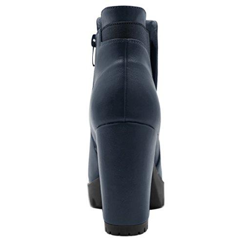 Chelsea Allegra Navy Plate Bottes Talon Femmes K Chunky Haut forme Blue Zipper AAgrx4qvzw