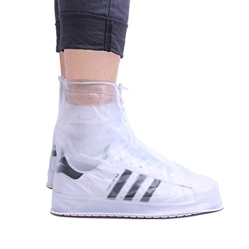 ARUNNERS Reusable Rain Shoe Covers Non Slip Waterproof Overshoes Foldable Galoshes for Women and Men-Clear,XL