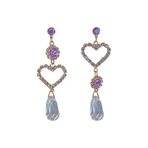 XBKPLO Drop Dangle Earrings Crystal Hypoallergenic Long Dangling Statement Earring Purple