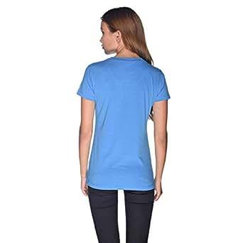Creo Green Beard Skull T-Shirt For Women - L, Blue