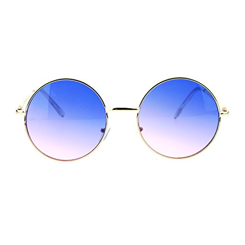 2 Tone Color Lens Retro Vintage Style Round Circle Hippie Groovy Sunglasses Blue - Blue Color Lens