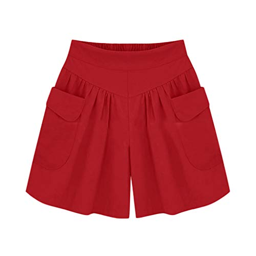 - Plus Size Solid Loose Hot Pants Women Pockets Lady Summer Casual Shorts Red