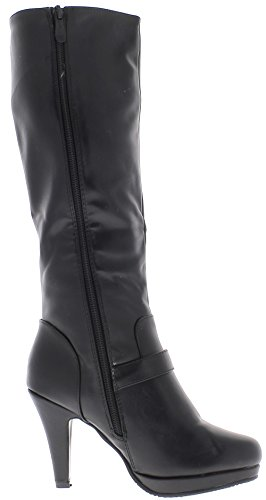 ChaussMoi Boots Black Filled Women to Purposes 9.5 cm Faux Leather Heel b4zoe
