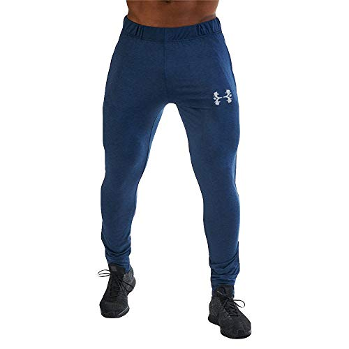 Beautyfine Men Printed Overalls Pants Pure Color Casual Sport Work Casual Trouser with Pocket -