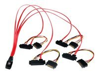Serial Attached SCSI (SAS) internal cable - SAS 6Gbit/s - 36 pin 4i Mini MultiLane - 15 pin SATA power, 29 pin internal SAS (SFF-8482) - 1.6 ft - red by STARTECH.COM (Image #1)