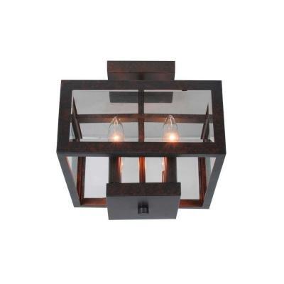 Hampton Bay 4-light Oxide Brass Semi-flush Mount with Tallarook Panel Glass Shade - Brass Semi Flush Ceiling Light