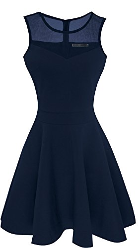 Sylvestidoso Women's A-Line Sleeveless Pleated Little Dark Navy Blue Cocktail Party Dress (XL, Navy) - Jersey Ride Mesh