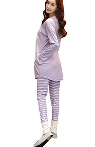 clothing Pigiami Viola Camicie Fasciante COCO da Nuovo notte Manica due Cute Primavera Estive Donna Stampa pigiama Girocollo Larghi Lunga pezzi Pantaloni 7dxxRq