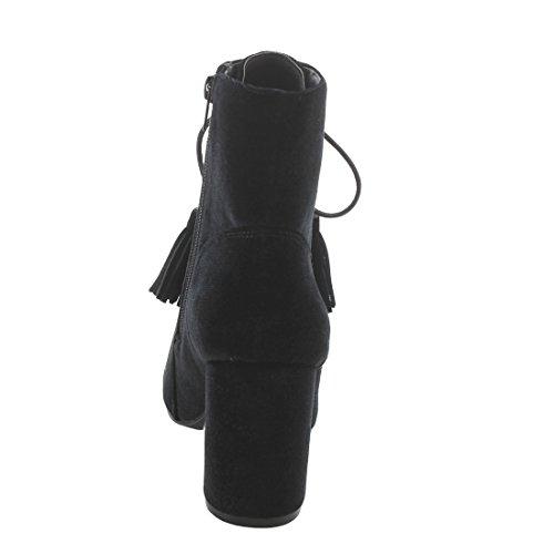 Block Ankle Nature Women's Wrapped EK42 Black Side Heel Lace up Booties Zipper Breeze 08r84qEvwZ