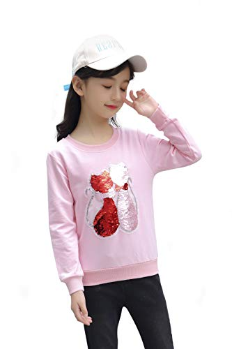 Children's Magic Sequin Long Sleeve Sweatshirts Flip Sequin Print Cotton Clothes Pullover Top for Boys and Girls