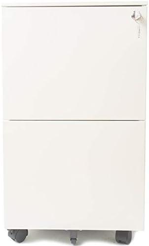 2 Drawer Locking Filing Cabinet in White