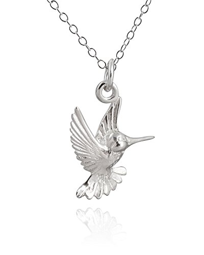 Diamond Hummingbird Pendant (Sterling Silver Hummingbird Pendant Necklace, 18