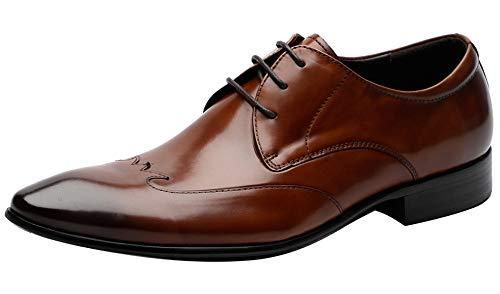Mens Dress Shoes Formal Oxfords Formal Leather Brogue Derby Shoes - Men Wedding Shoes Brown 9.5 M US ()