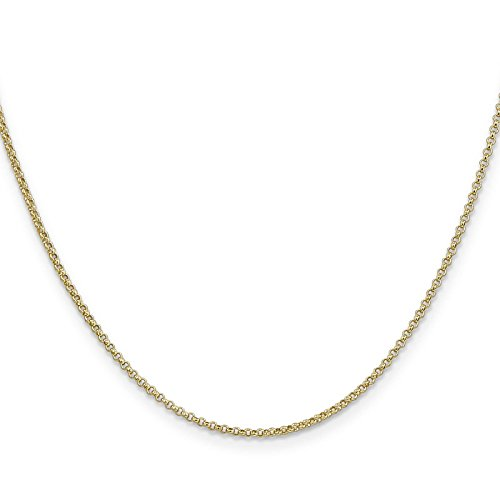 14k Yellow Gold 1.5mm Polished Rolo Pendant Chain Necklace 24'' by Venture Jewelers