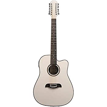 Oscar Schmidt OD312CEWH-A 12-String Cutaway Acoustic Electric Guitar, White