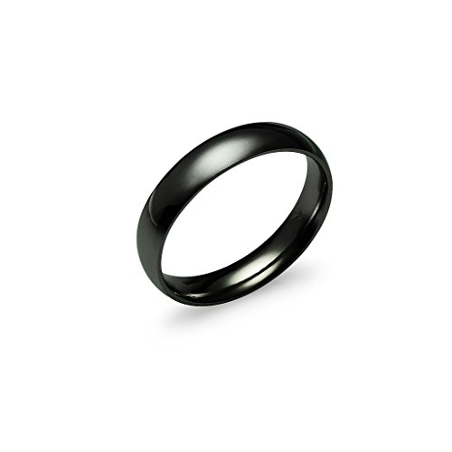 mm Stainless Steel Prime Comfort Fit Unisex Black Wedding Band Ring Half w/Gift Pouch Size 14 ()