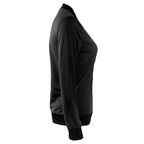 Bodycon4U Black Women's Print Casual Floral Jacket Classic Sleeve Long Zipper Bomber 7fx7Tqv