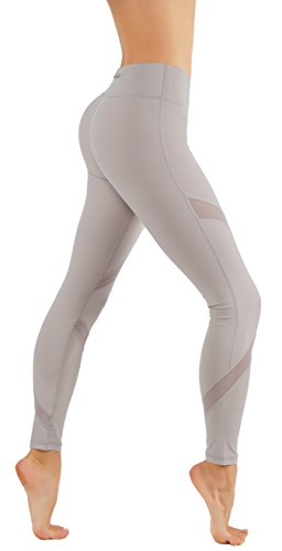 CodeFit Yoga Pants Power Flex Dry-Fit Cross Mesh Exposed Back Zipper for Storing Full Length Leggings (L USA 6-8, CF225-L.MOC)