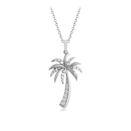 Carats For You 10k Solid Gold 0.17ct Genuine Real Brilliant Round Cut Natural Diamond Palm Tree Pendant Necklace for women ()