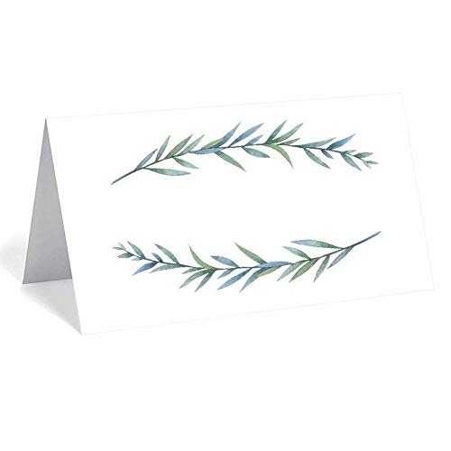 """(UNIQOOO 50 Pack Greenery Table Place Cards, Printable Seating Cards, Elegant Botanical Wreath Twig Design 
