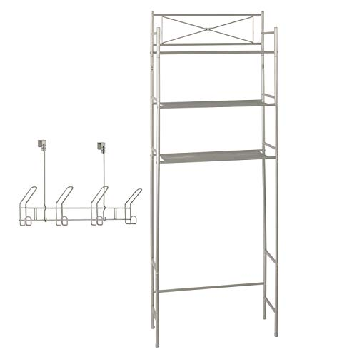Bathroom Organizer Space Saver Set - Includes Tall Over The Toilet Tier Shelf Stand and 4 Hook Over The Door Rack, Two Piece Bath Organization Kit, Storage Shelves and Hooks, Metal, Satin Nickel