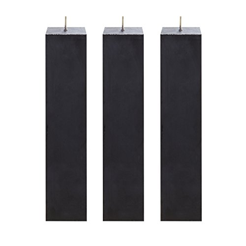 Mega Candles 3 pcs Unscented Black Square Pillar Candle | Hand Poured Premium Wax Candles 2