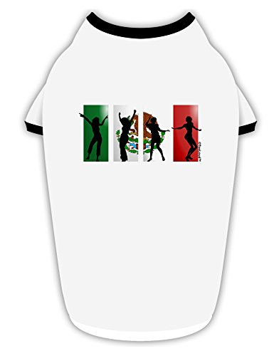 TooLoud Mexican Flag - Dancing Silhouettes Cotton Dog Shirt White with Black ()
