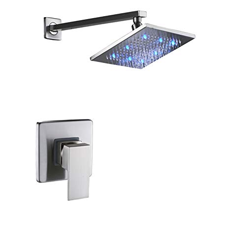 (Rozin Wall Mounted LED Light 8-inch Rainfall Shower Head with One-way Mixer Valve Brushed Nickel)