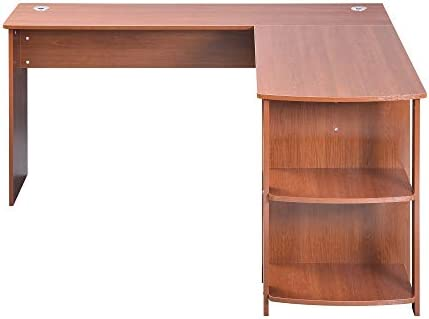 Merax L-Shapped Desk Office Storage Shelf PC Table Workstation Writing Table Maximize office space Brown