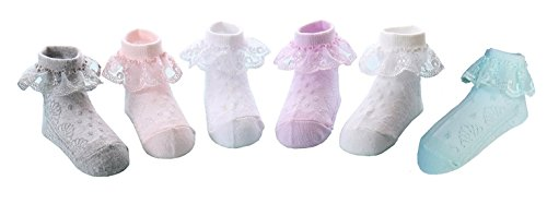 CHUNG Toddler Baby Girls Princess Lace Dress Socks Pack of 5/6 Satin Ruffles, 6pk, (Satin Ruffle)