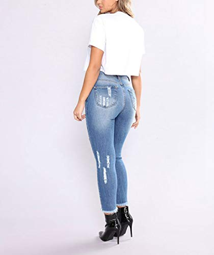 Blue Pantalon 003 Taille Jean Haute dchir en Jogging Skinny de r6dwqzr
