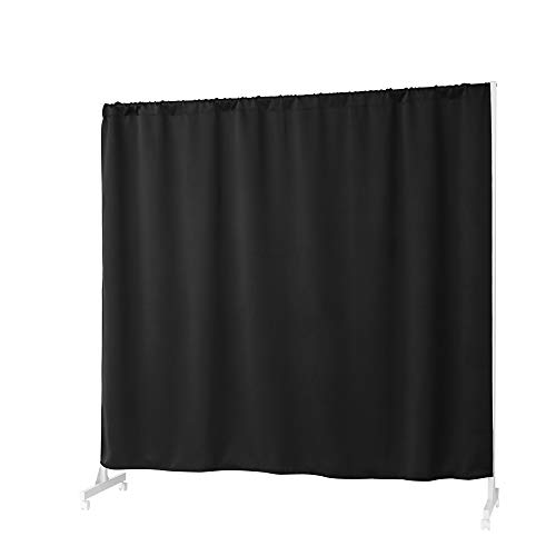Don't Look at Me - Expandable Privacy Room Divider - White Frame with Black Blackout Fabric