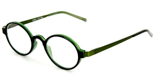 Cambridge Fashion Readers with Round, Retro Design and Spring Hinge Temples for Youthful, Stylish Men and Women (Green/Green +3.00)